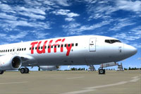 Screenshot of TUIfly Boeing 737-800 on the ground.