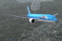 Screenshot of TUIfly Boeing 777-200LR in flight.