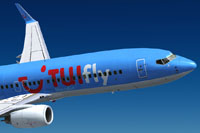 Screenshot of TUIfly Nordic Boeing 737-800 NGX in flight.