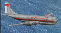 Screenshot of TWA Boeing 377 Stratocruiser in flight.