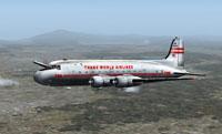 Screenshot of TWA Douglas C-54 in flight.