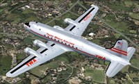 Screenshot of TWA Douglas DC-4 in flight.