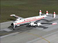Screenshot of TWA Lockheed 1049G-82 on runway.