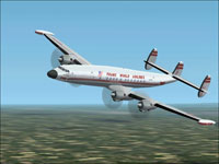 """Screenshot of TWA Lockheed L1049 Super-G """"Star of America"""" in flight."""