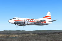 Screenshot of TWA Martin 404 in flight.