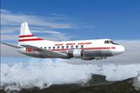 Screenshot of TWA Martin 404 Textures in flight.