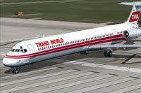 Screenshot of TWA McDonnell Douglas MD-82 on runway.