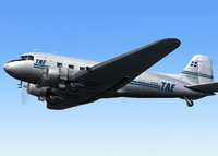 Screenshot of T.A.E. Douglas DC-3 SX-BAN in the air.