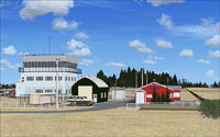Screenshot of Aerospace Park buildings and scenery.