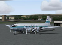 Screenshot of Tasman Empire Airways Limited DC-6 on the ground.