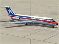 Screenshot of Texas Int'l Douglas DC-9-10 on the ground.