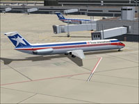 Screenshot of Texas Int'l Douglas DC-9-50 at boarding gate.