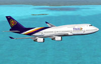 Screenshot of Thai Airways Boeing 747-4D7 in flight.