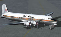 Screenshot of Thai Airways Douglas DC-4 on the ground.