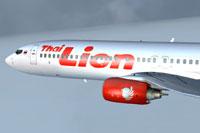 Screenshot of Thai Lion Air Boeing 737-900ER in flight.