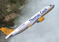 Screenshot of Thomas Cook Airbus A320 in flight.