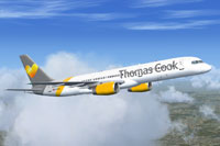 Screenshot of a Thomas Cook Boeing 757-200 sporting its new livery.