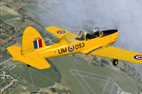 Screenshot of a yellow RCAF Chipmunk in flight.
