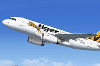 Screenshot of Tiger Airways Airbus A319 IAE in flight.