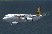 Screenshot of Tiger Airways Airbus A320-200 in flight.
