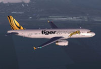 Screenshot of Tiger Airways Airbus A320 in flight.
