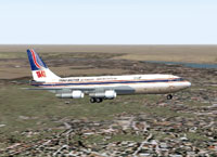 Screenshot of Trans Arabian Air Transport 707-321C in flight.