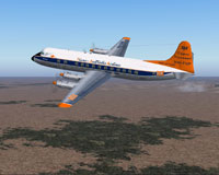 Screenshot of Trans Australia Airlines Viscount in flight.