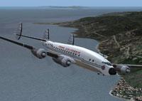 Screenshot of Trans California Airlines L-749 in flight.
