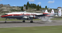 Screenshot of Trans-Canada Air Lines L-1049G landing on runway.