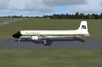 Screenshot of Trans Continental Airlines DC-6B taxiing to runway.