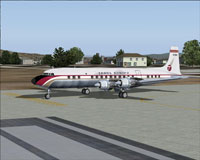 Screenshot of Trans Europa Douglas DC-7C on the ground.