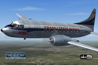 Screenshot of Trans-Texas Airways Convair CV-240 in flight.