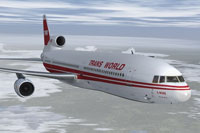 Screenshot of Trans Word Airlines Lockheed L-1011 in flight.