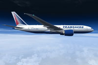 Screenshot of Transaero Airlines Boeing 777-200LR in flight.