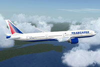 Screenshot of Transaero Boeing 777-300ER in flight.