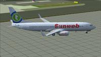 Screenshot of Transavia Boeing 737-800 on the ground.