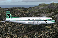 Side view of Transavia Douglas DC-6 in flight.
