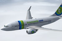 Screenshot of Transavia.com Boeing 737-7K2(WL) in flight.