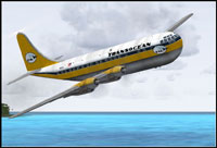 Screenshot of Transocean Boeing 377 Stratocruiser in flight.
