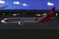 Screenshot of Travel Service Boeing 737-800 with a red tail.