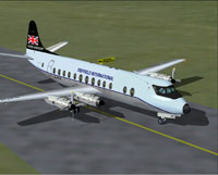 Screenshot of Treffield International Viscount 812 on runway.
