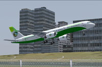 Screenshot of Tropical Connection Boeing 757-200 taking off.