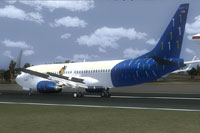 Screenshot of Dominican Airways Boeing 737-800 on runway.