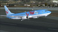 Screenshot of Tuifly Nordic Boeing 737-800 taking off.