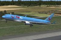 Screenshot of Tuifly Nordic Boeing 767-300 taking off.