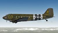 Screenshot of 'Turf and Sport' Douglas C-47 in flight.