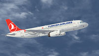 Screenshot of Turkish Airlines Airbus A320 in flight.