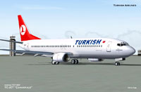 Screenshot of Turkish Airlines Boeing 737-400 on the ground.