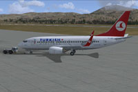 Screenshot of Turkish Airlines Boeing 737-752 on the ground.
