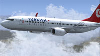 Screenshot of Turkish Airlines Boeing 737-8F2 NGX in flight.